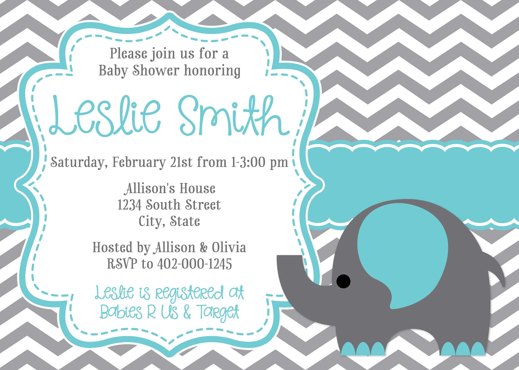 Baby Shower Invitations Elephant